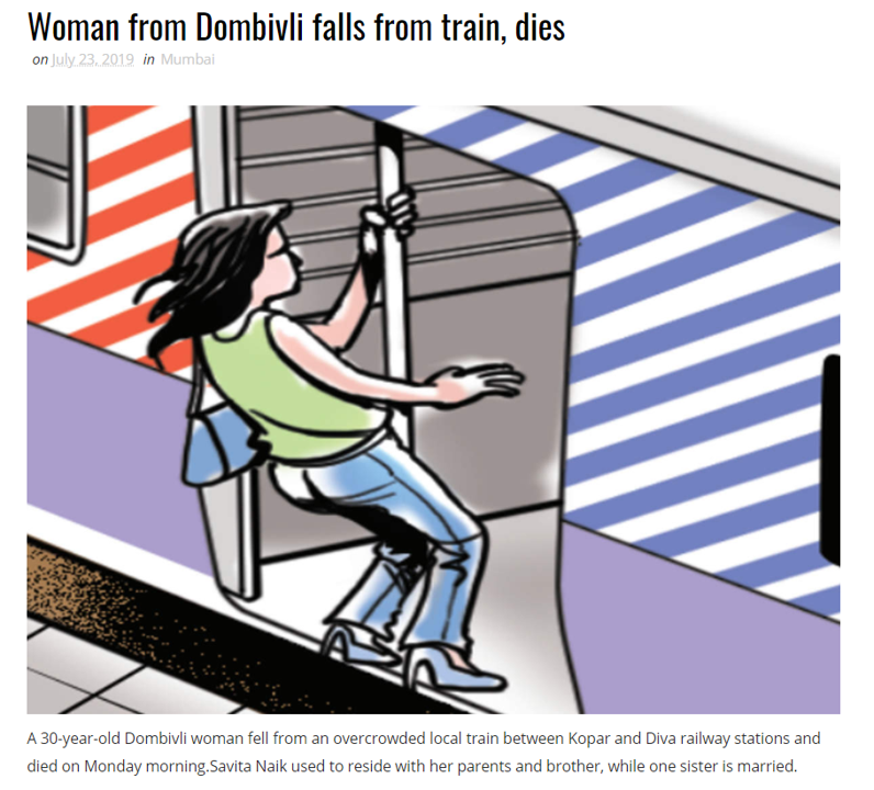 Woman from Dombivli falls from train, dies
